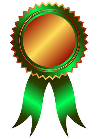 Bronze medal with green ribbon (vector) Vector