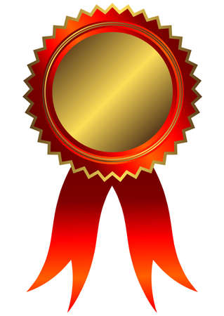 Golden medal with red ribbon (vector) Vector