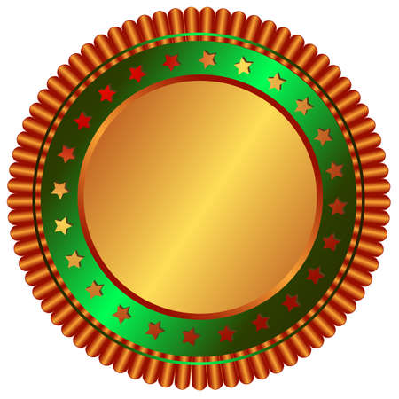 Bronze plate with green ring and bronze stars Vector