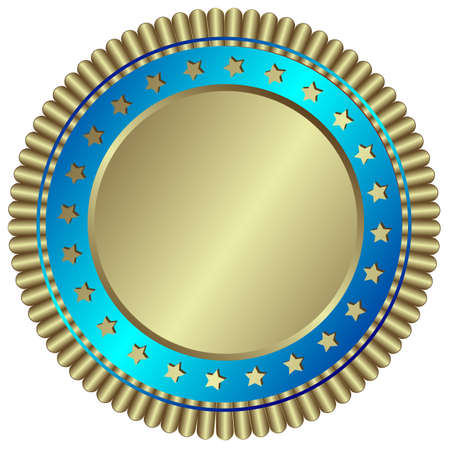 Silvery plate with blue ring and silvery stars Vector