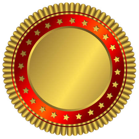 Golden plate with red ring and golden stars Vector