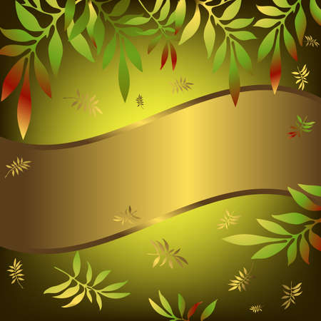 Green floral background with wave golden banner and leaves Vector