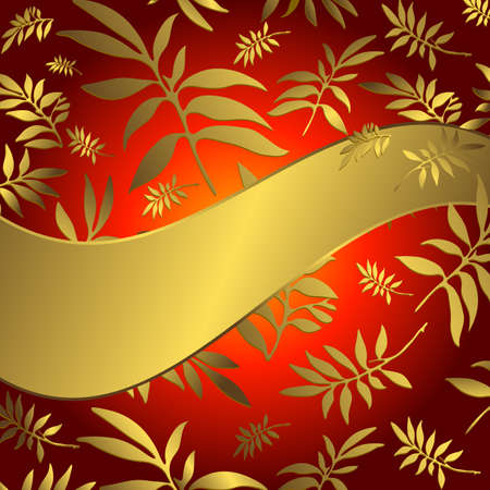 Red floral background with wave golden banner and leaves Vector