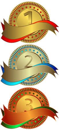 Silvery, golden and bronze plates (vector) Stock Vector - 4876736