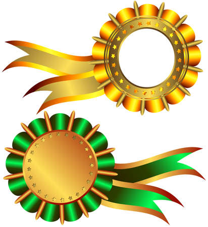 Set of gold and bronze medals Vector