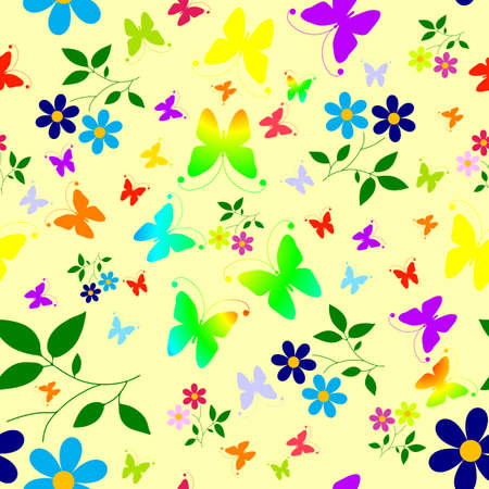 Abstract seamless floral background with butterflies  Vector