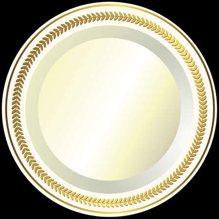 White plate with a gold vintage ornament Vector