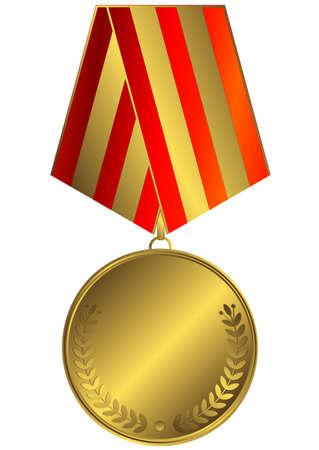 goldmedaille: Gold-Medaille mit roten und goldenen gestreiften Band (Vektor)