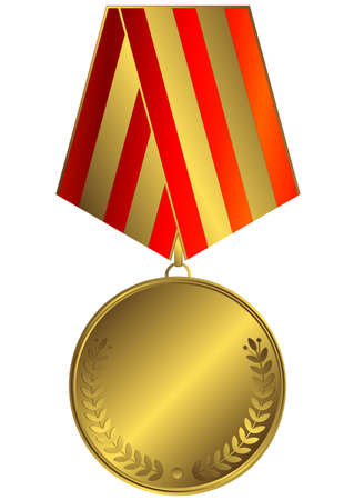 Gold medal with red and golden striped ribbon (vector)