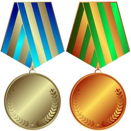 silver medal: Silvery and bronze medals with  striped ribbons (vector)