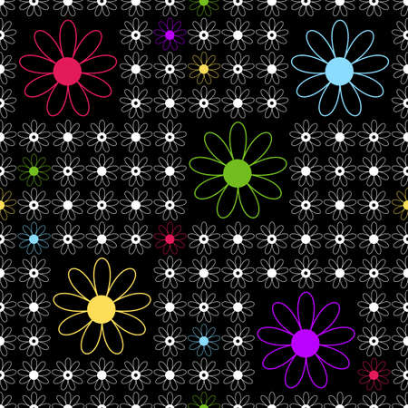 Floral seamless black  background with white, pink, yellow, lilas and blue flowers Vector