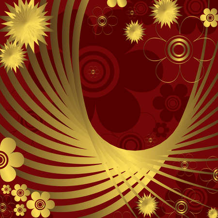 Floral abstract red and golden  background (vector) Vector