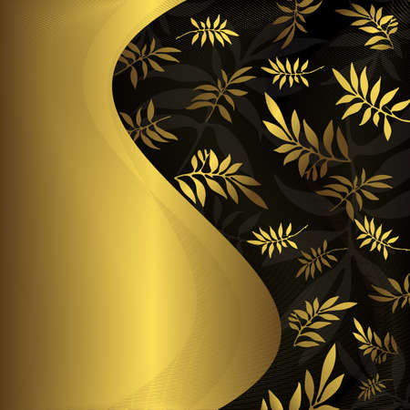 Abstract floral black and golden frame (vector) Vector