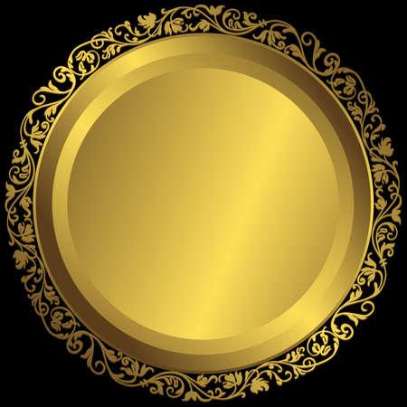 round: Golden plate with vintage ornament on black background (vector) Illustration