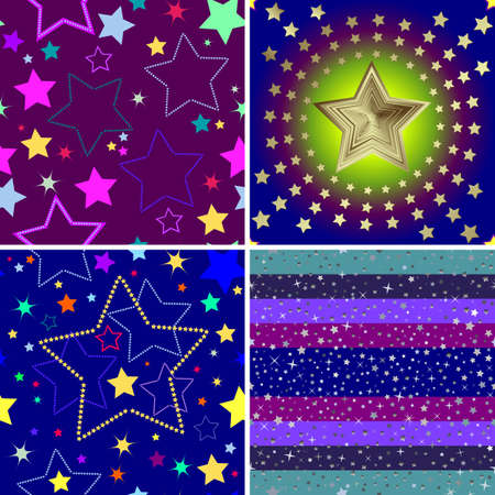Set from four seamless backgrounds with stars (vector) Vector