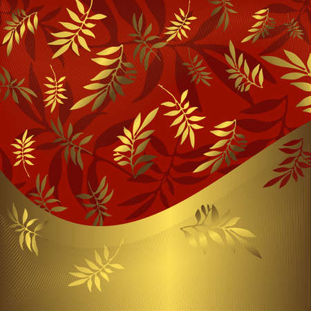 Abstract floral red and golden frame (vector) Vector
