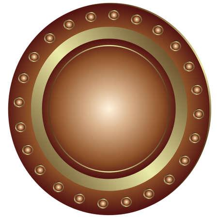rivet: Bronze plate with rivet on white background (vector)