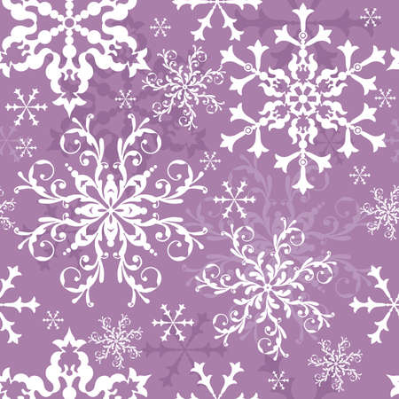 Abstract seamless lilas background with snowflakes (vector) Stock Vector - 5445179
