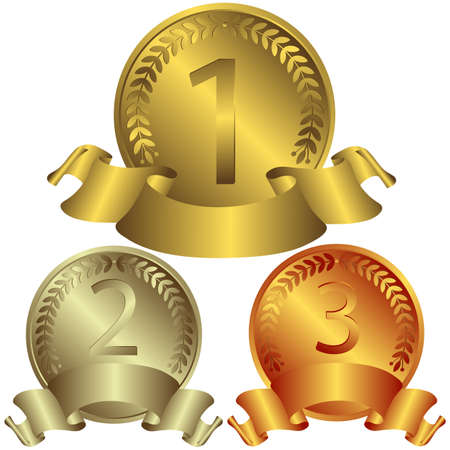 gold silver bronze: Gold, silver and bronze medals (vector)