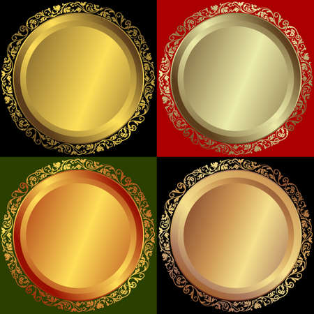 Golden, silvery and bronze plates Vector