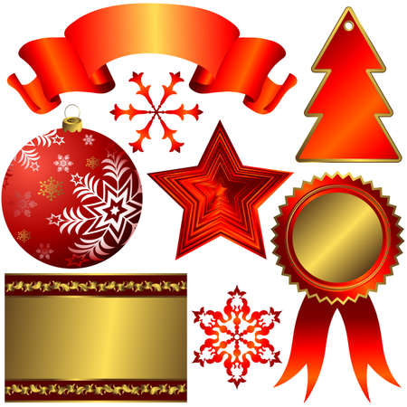Collection of red elements for christmas design  Vector
