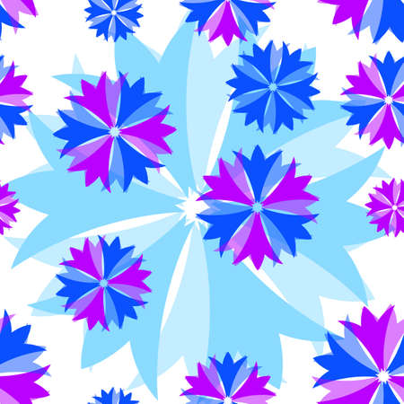 Abstract seamless floral pattern with translucent flowers Vector