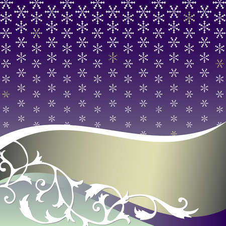 silvery: Abstract  lilas background with snowflakes and silvery banner
