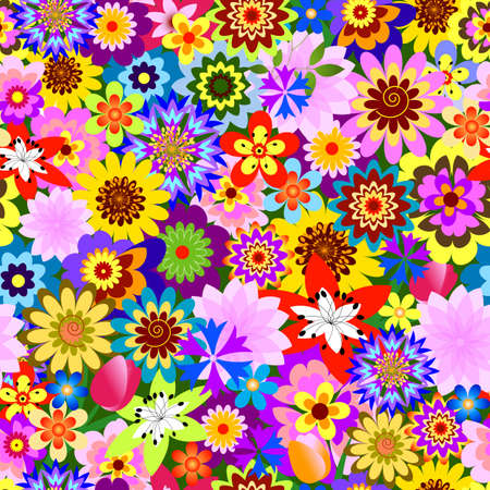 Abstract seamless  floral pattern (vector) Stock Vector - 5584668