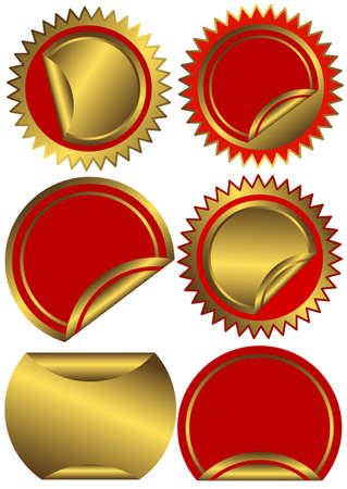 Set golden and red  labels on a white background (vector) Vector