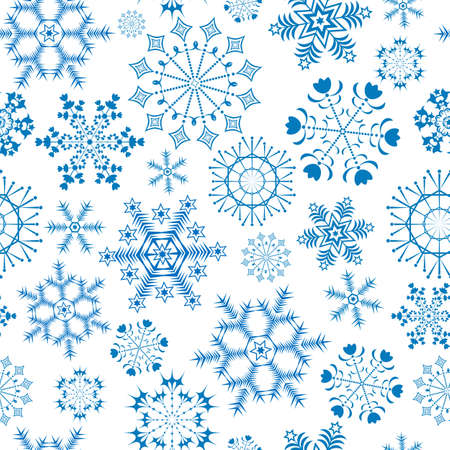 Seamless white-blue christmas pattern (vector) Vector