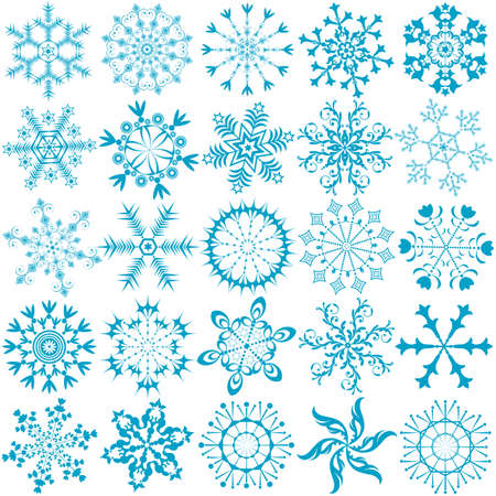 Big collection blue snowflakes (vector)  Vector