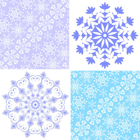 Set christmas seamless pastel pattern and snowflakes (vector) Vector