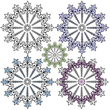 Vintage pastel decorative snowflakes for design Vector