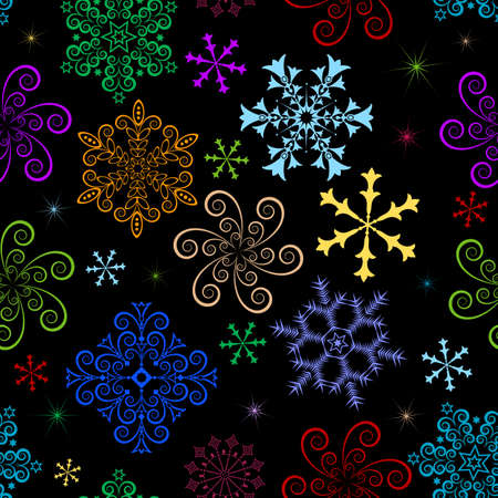 Dark  winter seamless pattern with multi-coloured snowflakes Vector