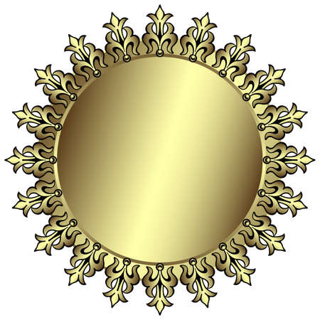 silvery: Vintage silvery round frame with place for the text Illustration