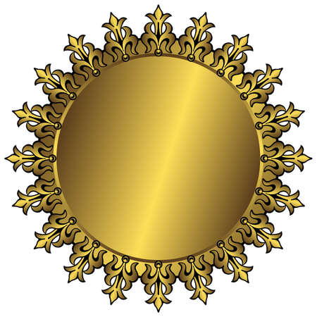 brushed gold: Vintage golden round frame with place for the text