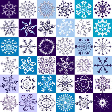 fantasia: 36  isolated snowflakes on white and blue backgrounds  Illustration