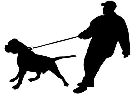 The man just keeps his large dog on a leash (vector) Vector