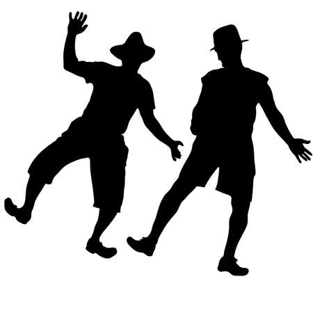 duet: Two men in hats dancing burlesque dance in the country Illustration
