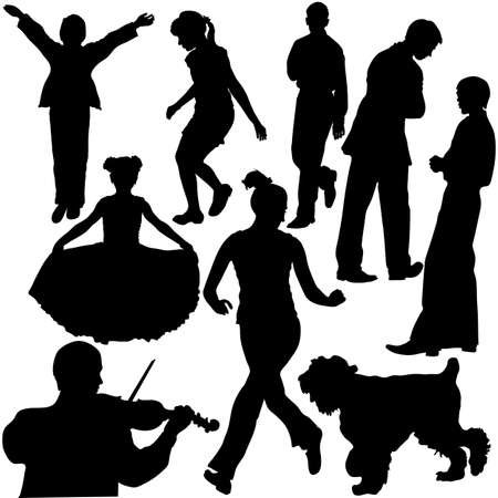 Silhouettes of people in different situations (vector) Stock Vector - 5696215