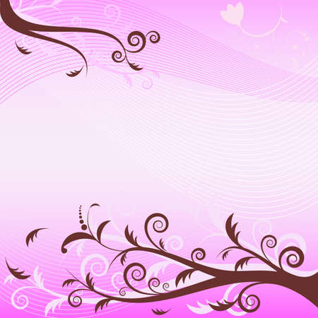 Pink floral  background (vector) Vector