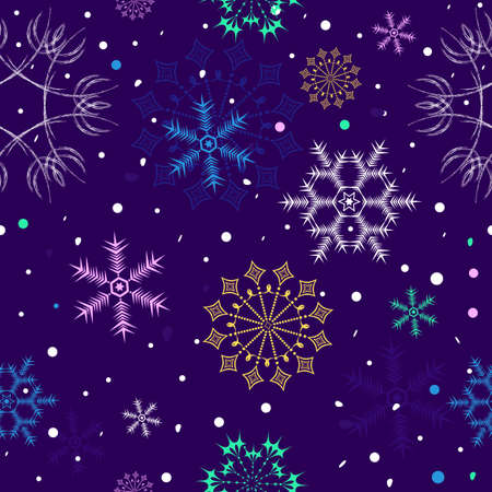 Dark  lilas winter seamless pattern Vector