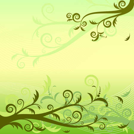 Gentle green and yellow floral  background (vector) Vector