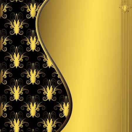 carve: Negro floral abstracta y decorativo de oro bastidor (vector)