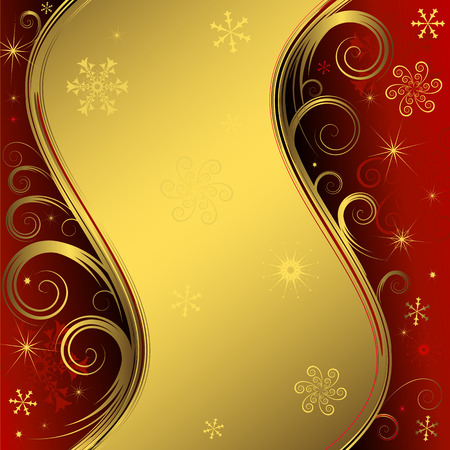 Red and golden christmas background Stock Vector - 5824966