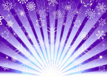 lilas: Lilas christmas background with beams and snowflakes