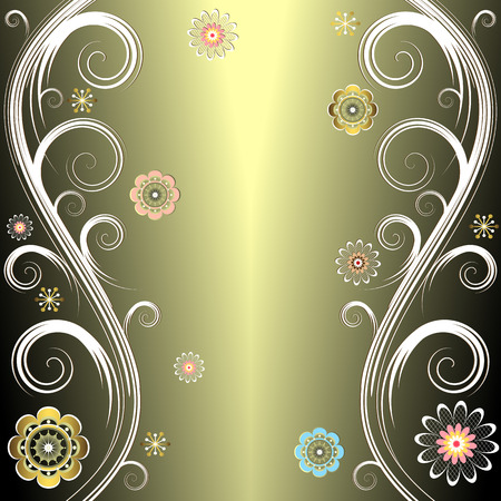silvery: Floral silvery background (vector)