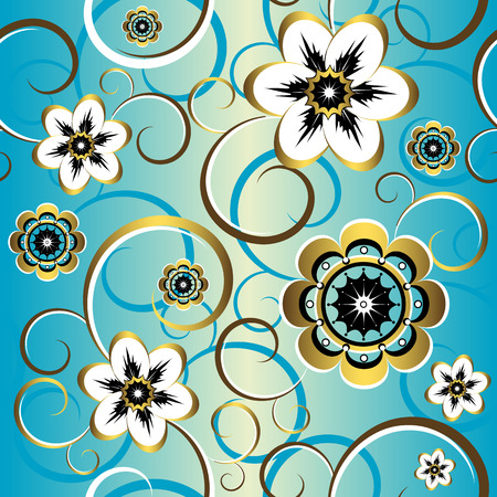 Seamless floral decorative blue pattern (vector) Vector