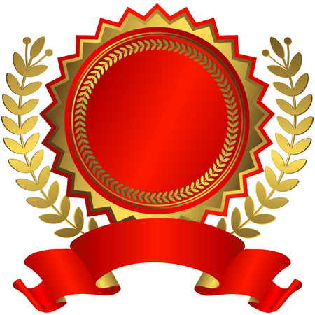 contest: Red and golden award with ribbon (vector)