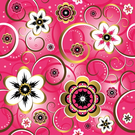 Seamless floral decorative pink pattern (vector) Vector